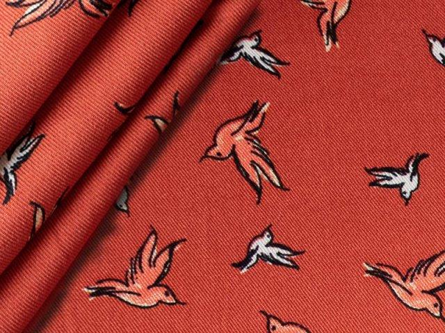 Viskose Twill - Vögel - schwarz - orange - weiß
