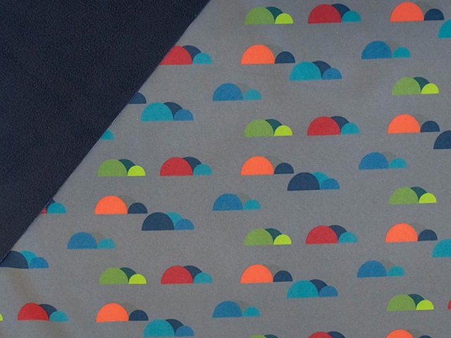 Softshell - Kreise - grau - blau - grün - orange