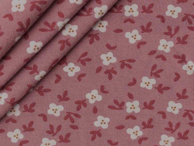 Bio Jersey - kleine Blüten mit Zweigen - altrosa - rost
