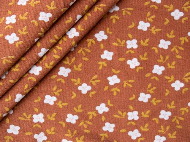 Bio Jersey - kleine Blüten mit Zweigen - ocker -  weiß - senf