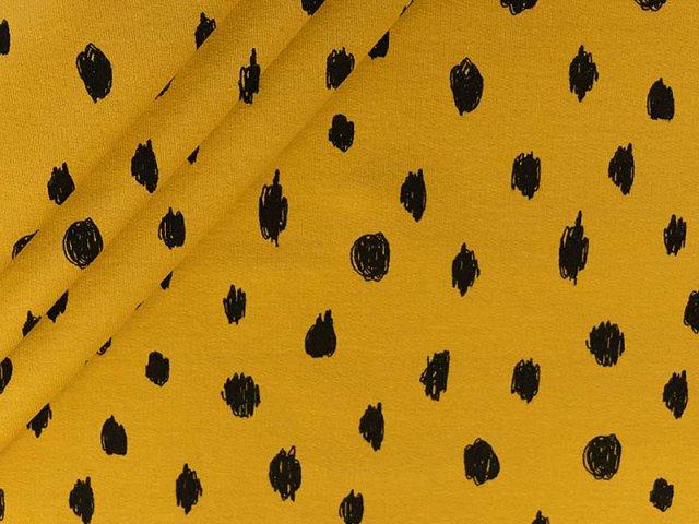 Bio Soft Sweat  mit schwarzen Kreisen auf senf - angeraut