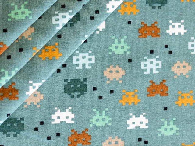 Bio Jersey mit Pixel Figuren - mint - weiß