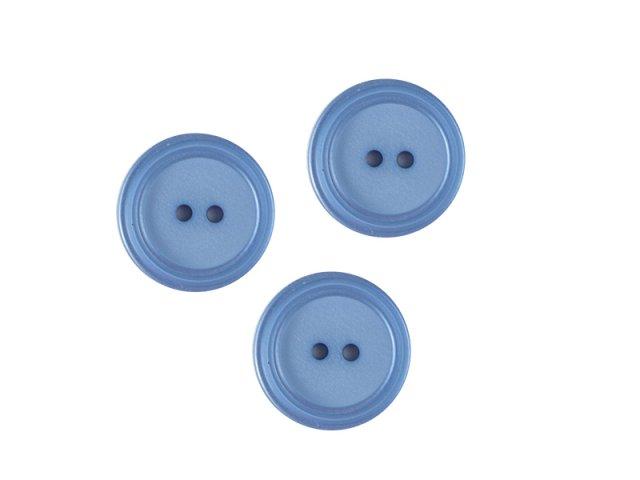 Runder Knopf mit Rille - 2-Loch  - 15mm - Prym blau