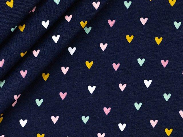 Baumwolle mit Herz Design - navy