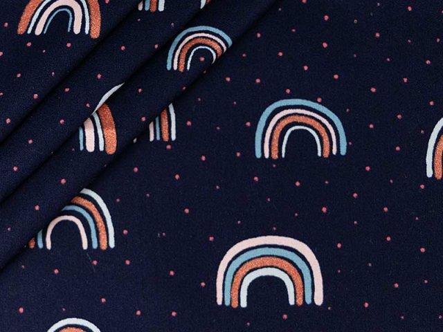 Baumwolle mit Regenbogen Design - navy