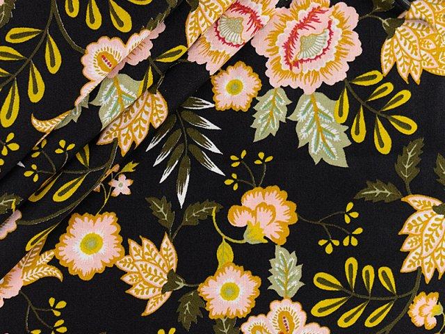 Baumwolle mit Blumenmuster - paisley- schwarz