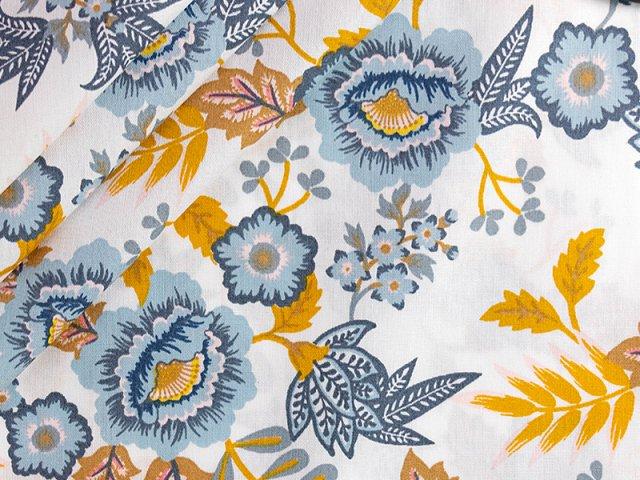 Baumwolle mit Blumenmuster - paisley- weiss