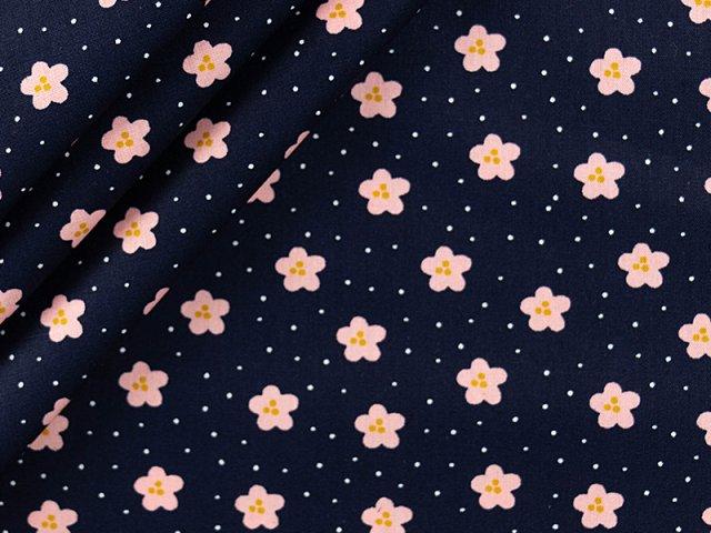 Baumwolle mit Blüten Design - navy
