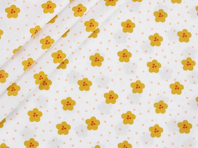 Baumwolle mit Blüten Design - weiß