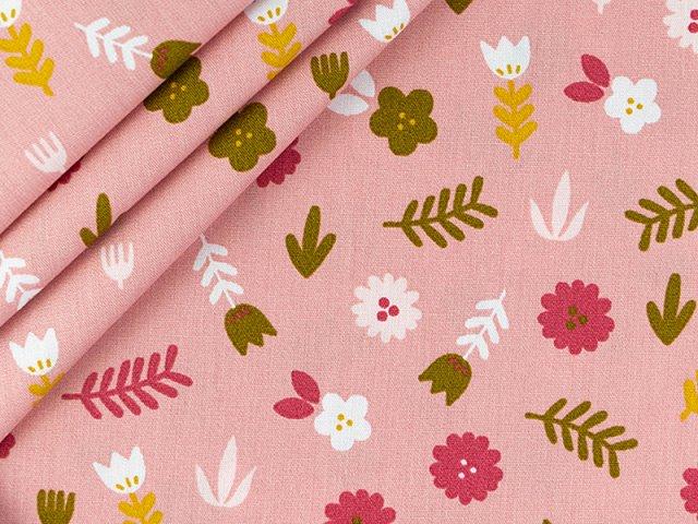 Baumwolle mit Tulpen Blumenmuster - rosa