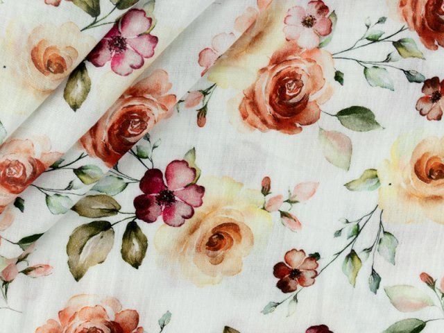 Musselin - Double Gauze mit floralem Muster auf weiß