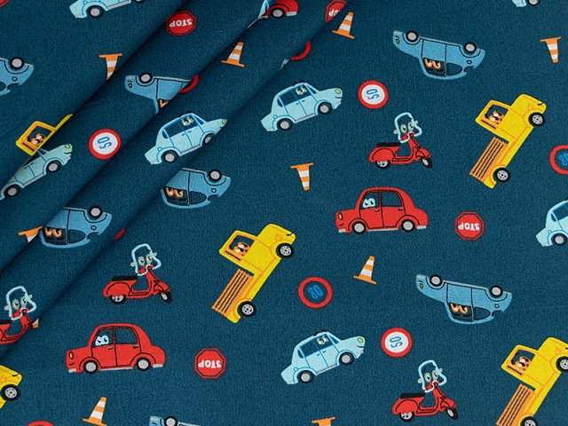 Baumwolle mit Fahrzeugen  auf petrol