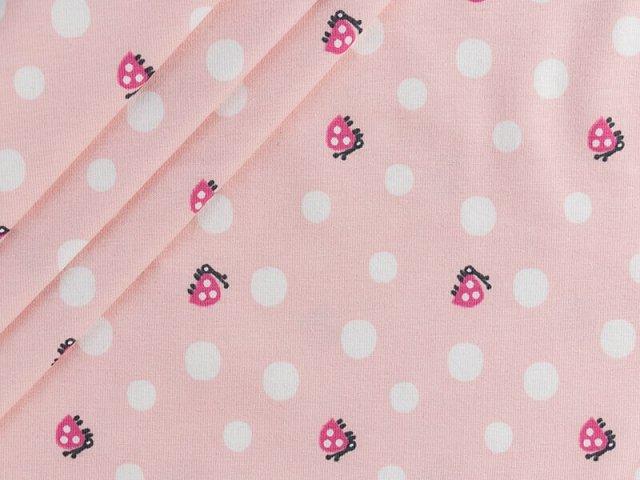Bio Jersey mit kleinen Marienkäfern und Punkten auf rosa