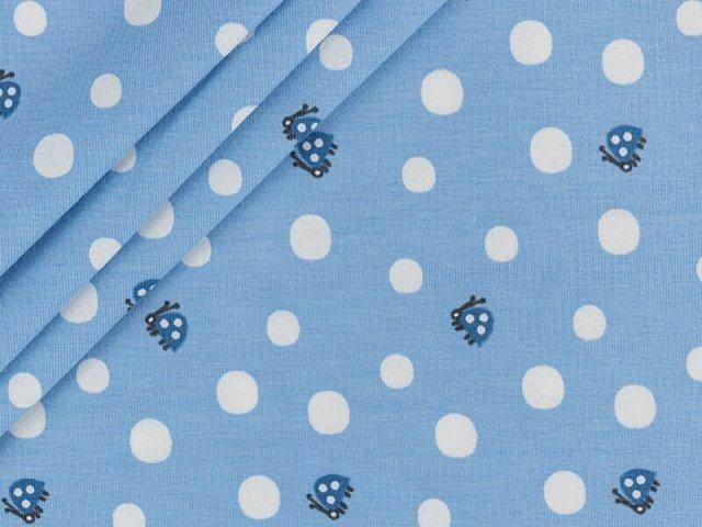 Bio Jersey mit kleinen Marienkäfern und Punkten auf hell blau
