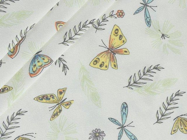 Single Jersey mit  Schmetterlingen und Zweigen auf weiß