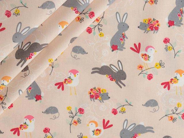 Baumwolle mit Hasen und Vögeln auf rosa