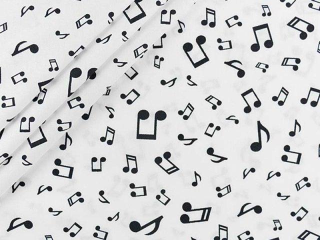 Baumwolle mit Musiknoten in weiß - schwarz