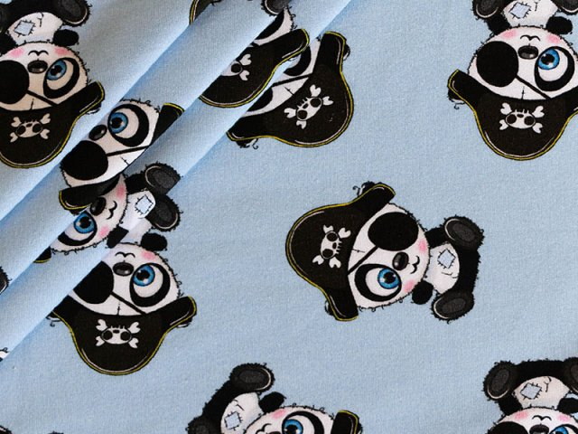 French Terry - Panda Piraten-Motiv - hellblau - ungeraut