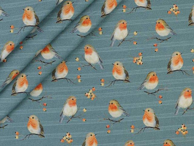 Jersey Digitaldruck von Stenzo - süße Rotkehlchen auf Zweigen - blau schraffiert