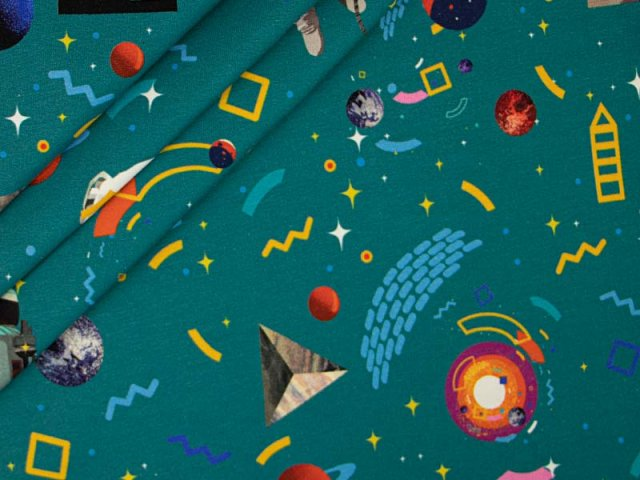 French Terry - Weltraum Planeten Astronauten - auf petrol