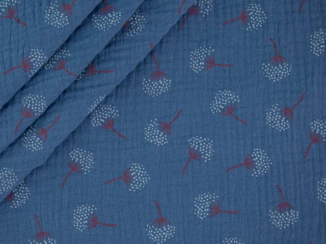 Musselin - Double Gauze mit Pusteblumen - jeansblau