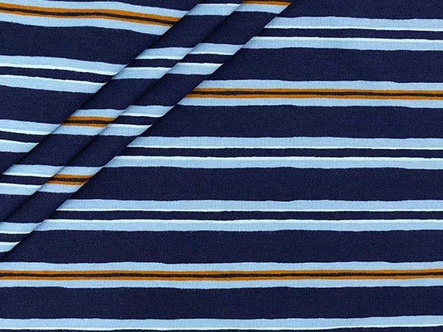 Single Jersey mit blauen Streifen in navy