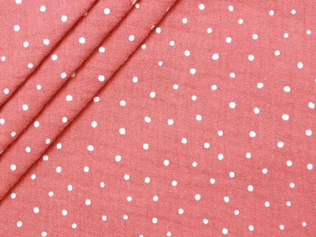 Musselin - Double Gauze - Punkte - rosa