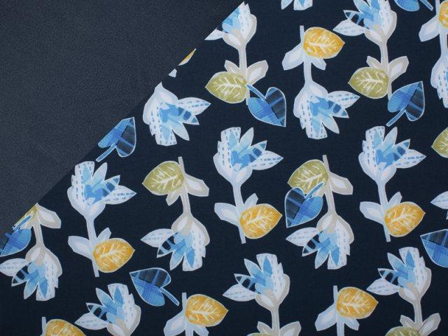 Softshell - Abstrakt - Blumen - navy - hellblau