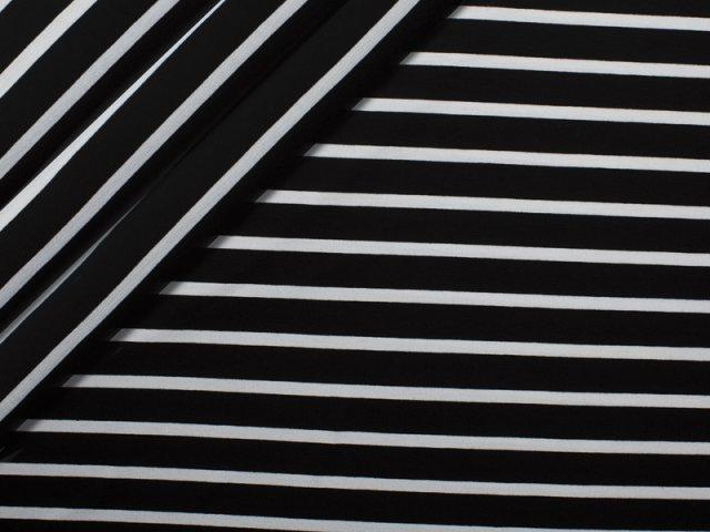 Jersey Viskose - Streifen - unregelmäßig - schwarz - weiß