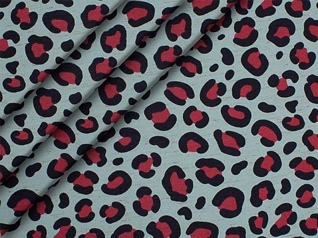 Jersey Single - Leo-Muster - pink - schwarz - hellblau