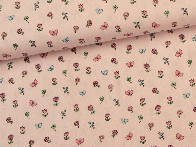 Baumwolle - Schmetterlinge - Blumen - rosa