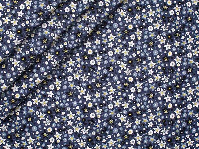 Baumwolle - Blumen - blau - weiß - grün