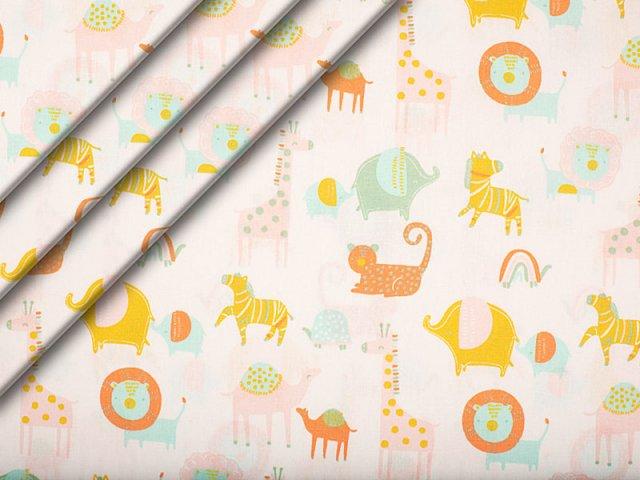 Bio-Baumwolle - Safari - Tiere - weiß - rosa - orange - grün - gelb