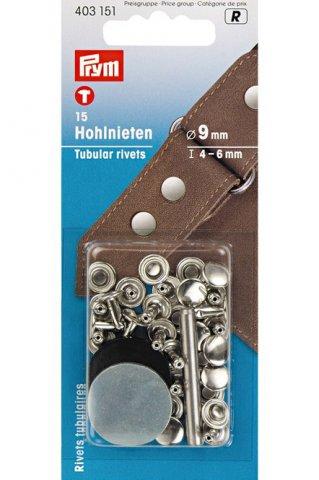 Hohlnieten - 9 mm - Prym - messing - Stärke 4-6 mm