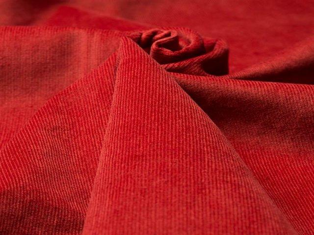 Feincord - Stretch - einfarbig - warmes - rot