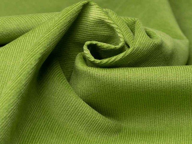 Feincord - Stretch - einfarbig - grün