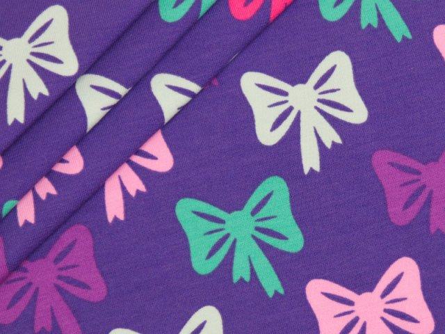 BIO Jersey Single - Bows - Rainbow Girls  - lila - EXKLUSIV DESIGN