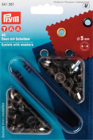 Ösen - 5 / 8 / 11 / 14mm - altmessing - brüniert - Prym