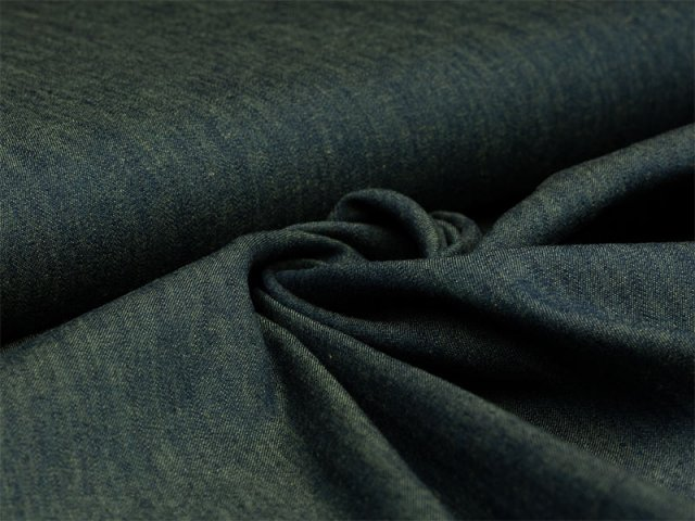 Reststück 0,50m - Jeans - melange - dunkelgrün - gelb
