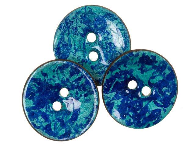 Knopf - Horn - 35mm - rund - blau