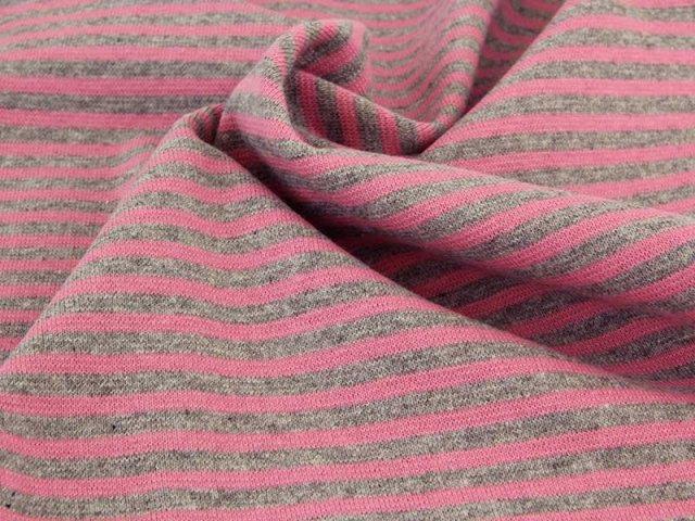 Bündchen Feinripp - Ringel - rosa - grau meliert