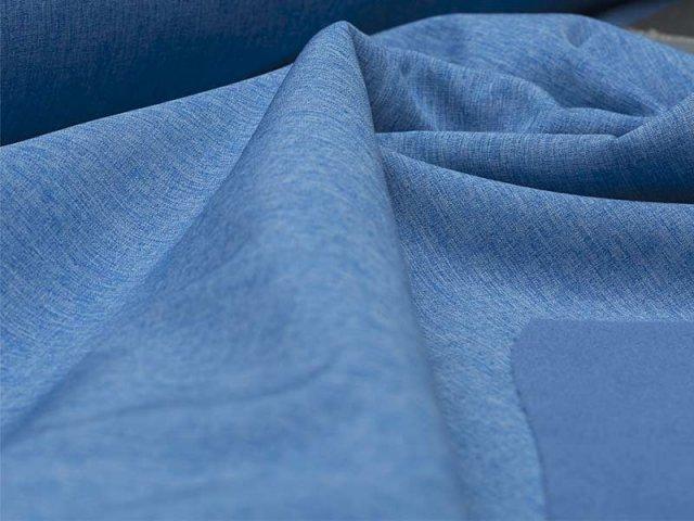 Reststück 0,15m - Softshell - meliert - blau - hellblau