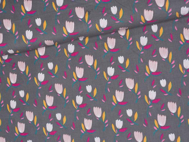 Feincord - Blumen - grau