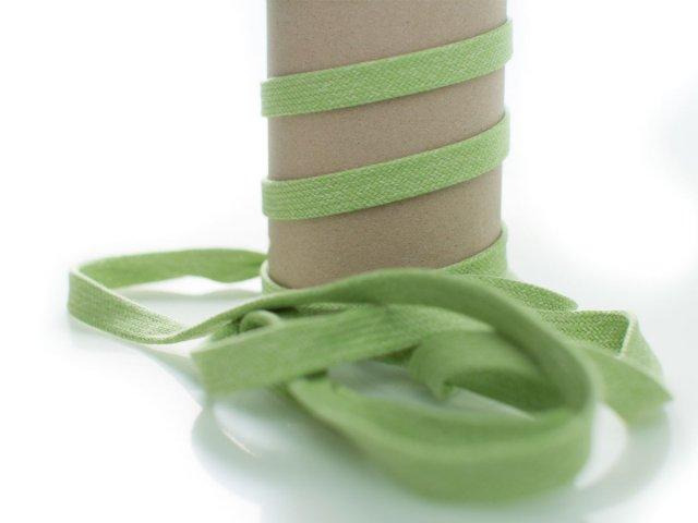 Kordel - 12mm - flach - hellgrün - weiß