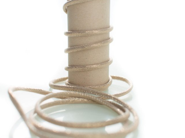 Kordel - 5mm - Glitzer - rund - beige