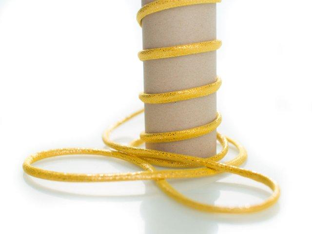 Kordel - 5mm - Glitzer - rund - gelb
