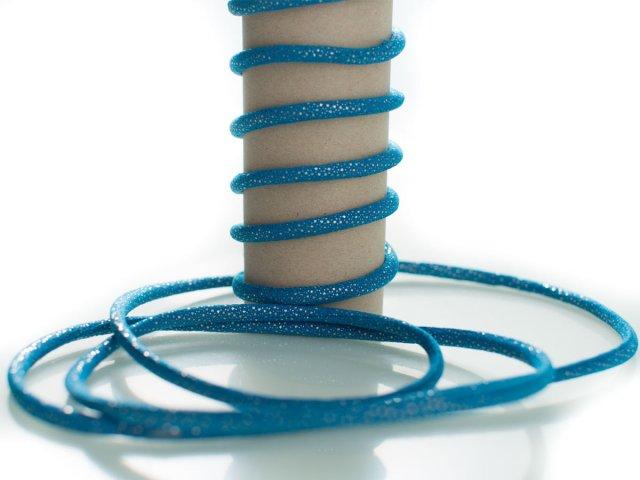 Kordel - 5mm - Glitzer - rund - blau