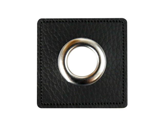 Patch - Quadrat - schwarz - silber  11mm
