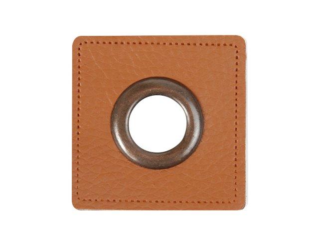 Patch - Quadrat - braun - altkupfer  11mm