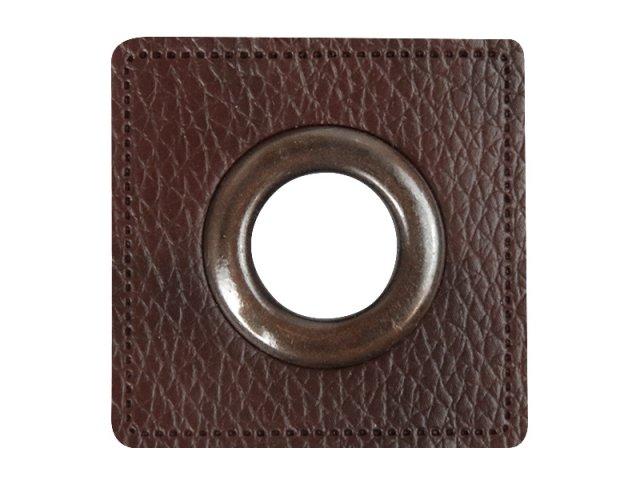 Patch - Quadrat - dunkelbraun - altkupfer  14mm
